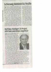 Bericht zu Stuttgart21 in der türklischen Zeitung ZAMAN am 19.03.2013