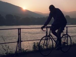 Entlang des Stroms: Ein Radfahrer ist morgens in Bonn am Rheinufer unterwegs. Foto: dpa
